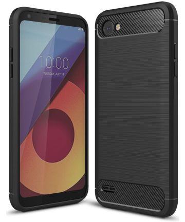 LG Q6 Geborsteld TPU Hoesje Zwart