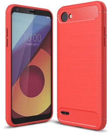 LG Q6 Geborsteld TPU Hoesje Rood