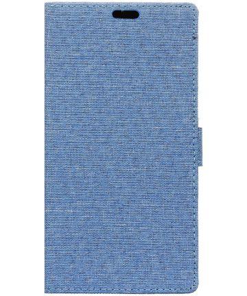 LG Q6 Linnen Portemonnee Hoesje Blauw