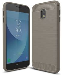 Samsung Galaxy J3 (2017) Geborsteld TPU Hoesje Grijs