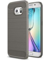 Samsung Galaxy S6 Edge Geborsteld TPU Hoesje Grijs