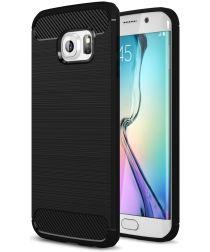 Samsung Galaxy S6 Edge Geborsteld TPU Hoesje Zwart