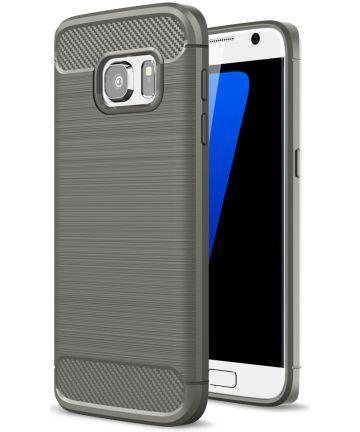 Samsung Galaxy S7 Geborsteld Hoesje Grijs