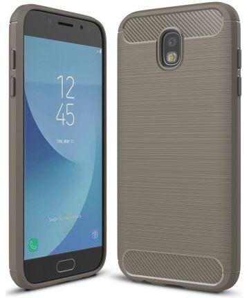 Samsung Galaxy J7 (2017) Geborsteld TPU Hoesje Grijs