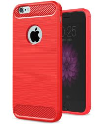 Apple iPhone 6S Plus Geborsteld TPU Hoesje Rood