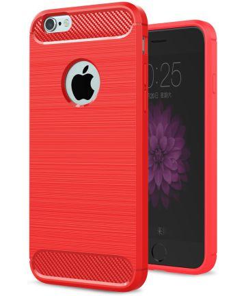 Apple iPhone 6(S) Geborsteld TPU Hoesje Rood