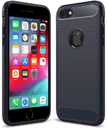 Apple iPhone 6(S) Geborsteld TPU Hoesje Blauw