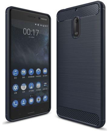 Nokia 6 Geborsteld TPU Hoesje Blauw