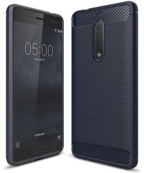 Nokia 5 Geborsteld TPU Hoesje Blauw