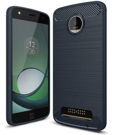 Motorola Moto Z Play Geborsteld TPU Hoesje Blauw