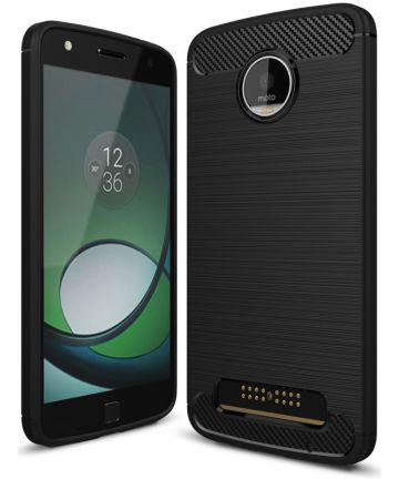 Motorola Moto Z Play Geborsteld TPU Hoesje Zwart