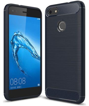 Huawei Y6 Pro (2017) Geborsteld TPU Hoesje Blauw