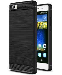 Huawei P8 Lite Geborsteld TPU Hoesje Zwart