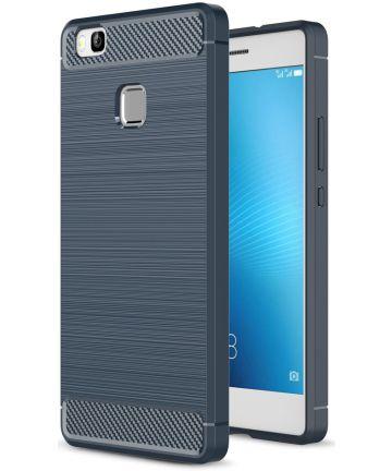 Huawei P9 Lite Geborsteld TPU Hoesje Blauw