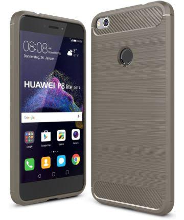 Huawei P8 Lite (2017) Geborsteld TPU Hoesje Grijs