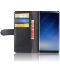 Samsung Galaxy Note 8 Echt Leren Hoesje met Pasjes Zwart