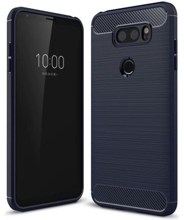 LG V30 / V30S Geborsteld TPU Hoesje Blauw Hoesjes