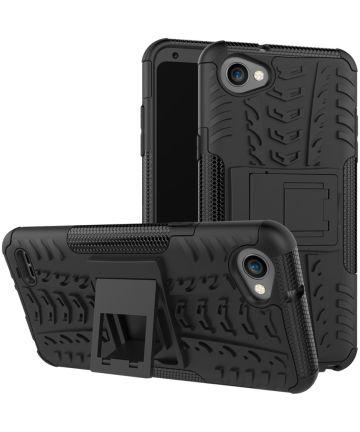 LG Q6 Hybride Hoesje met Standaard Zwart Hoesjes