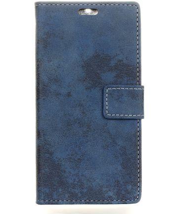 Motorola Moto G5S Plus Vintage Portemonnee Hoesje Blauw