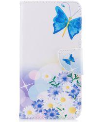 Huawei Y7 (2017) Portemonnee Hoesje met Vlinder Opdruk