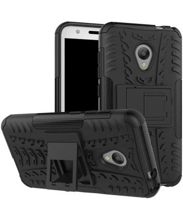 Alcatel U5 4G Hybride Kickstand Hoesje Zwart