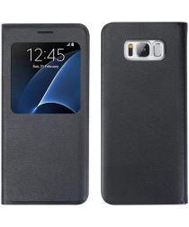 Samsung Galaxy S8 Window View Book Case Zwart