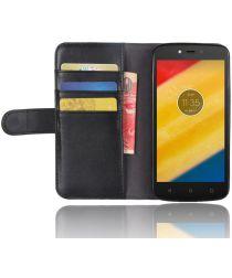 Echt Leren Motorola Moto C Plus Hoesje Zwart