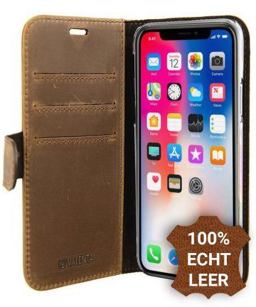 Valenta Luxe Apple iPhone X Hoesje Leer Bookcase Vintage Bruin