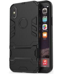 Hybride Apple iPhone X Hoesje met Standaard Zwart