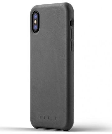 Mujjo Lederen Case Apple iPhone X Grijs
