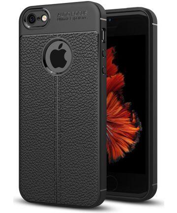 Apple iPhone 5 / 5S / SE Hoesje met Kunstleer Coating Zwart