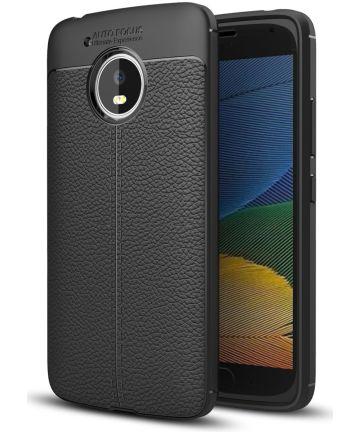 Motorola Moto G5 Hoesje met Kunstleer Coating Zwart