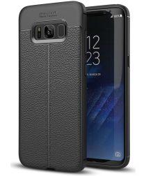 Samsung Galaxy S8 Hoesje Met Leren Textuur Zwart