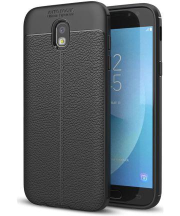 Samsung Galaxy J5 (2017) Hoesje Leren Textuur Zwart Hoesjes