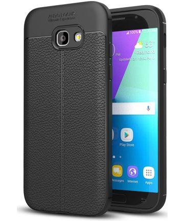 Samsung Galaxy A5 (2017) Hoesje met Leren Textuur Zwart