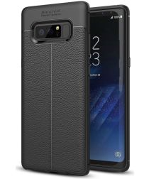 Samsung Galaxy Note 8 Hoesje TPU Met Leren Textuur Zwart