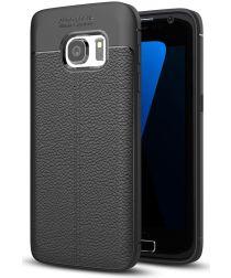 Samsung Galaxy S7 Hoesje Met Leren Textuur Zwart