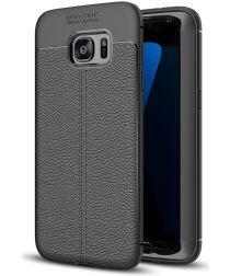 Samsung Galaxy S7 Edge Hoesje TPU Met Leren Textiel Zwart