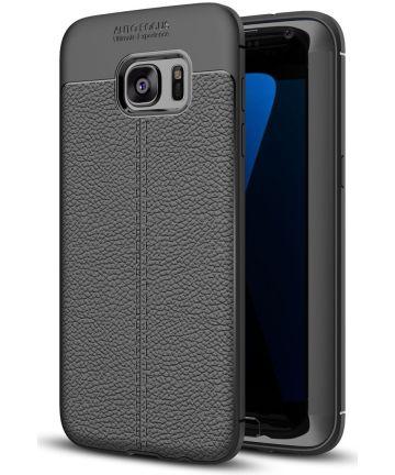 Samsung Galaxy S7 Edge Hoesje TPU Met Leren Textuur Zwart Hoesjes