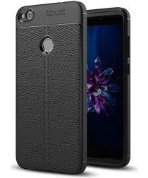 Huawei P8 Lite (2017) Hoesje TPU Met Leren Textuur Zwart