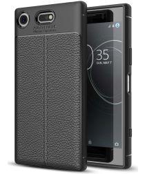 Sony Xperia XZ1 Compact Hoesje TPU Met Leren Textuur
