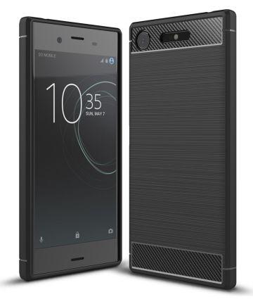 Sony Xperia XZ1 Geborsteld TPU Hoesje Zwart