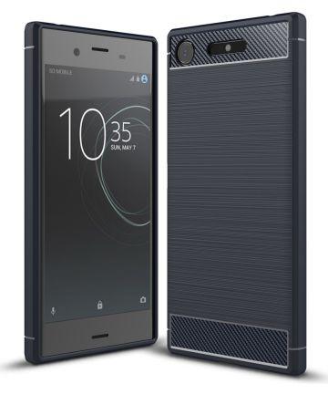 Sony Xperia XZ1 Geborsteld TPU Hoesje Blauw