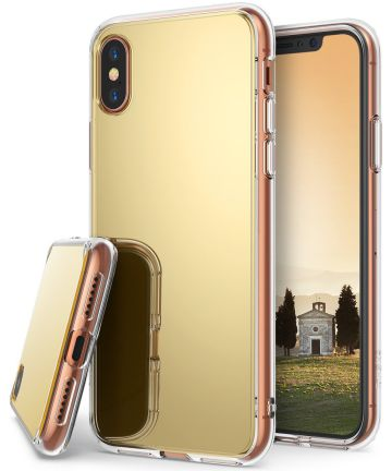 Ringke Fusion Apple iPhone X Spiegel Hoesje Goud