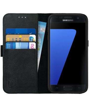 Rosso Deluxe Samsung Galaxy S7 Hoesje Echt Leer Book Case Zwart