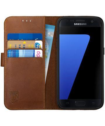 Rosso Deluxe Samsung Galaxy S7 Hoesje Echt Leer Book Case Bruin Hoesjes