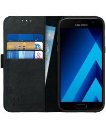 Rosso Deluxe Samsung Galaxy A5 2017 Hoesje Echt Leer Book Case Zwart