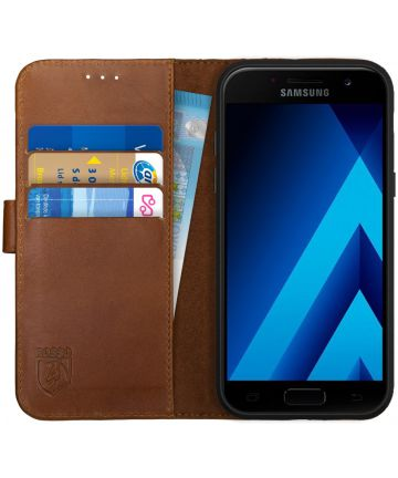 Rosso Deluxe Samsung Galaxy A5 2017 Hoesje Echt Leer Book Case Bruin