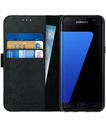 Rosso Deluxe Samsung Galaxy S7 Edge Hoesje Echt Leer Book Case Zwart