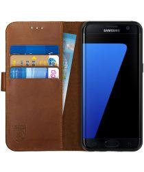 Rosso Deluxe Samsung Galaxy S7 Edge Hoesje Echt Leer Book Case Bruin